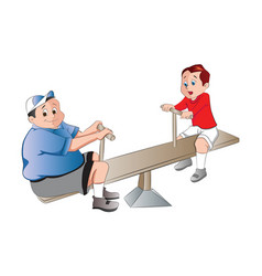 Two boys playing on a seesaw vector