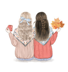 two girls best friends in fall hand drawn vector image