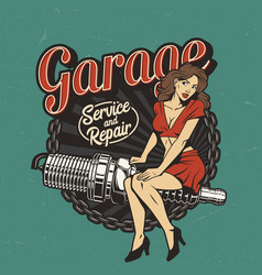vintage car repair service colorful label vector image