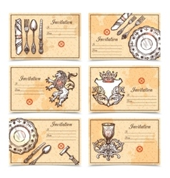 Vintage Menu Set With Cutlery Images vector