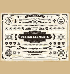 vintage original design elements set vector image