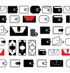 wallet or pocketbook icon seamless borders or vector image