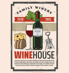 wine bottle and snacks in family winery vector image