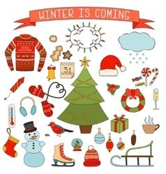 Winter and Christmas icons set Hand drawn vector