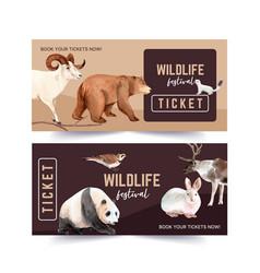 Winter animal voucher design with ferret bear vector