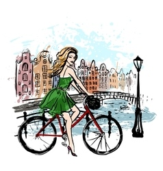 Woman driving bicycle vector
