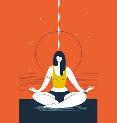 woman with closed eyes does yoga exercise and vector image