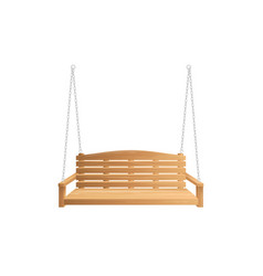 wooden porch swing bench hanging on chains vector image