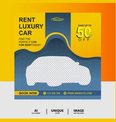 Yellow color rent a car social media post banner vector