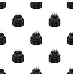 Chocolate cake with stars icon in black style vector