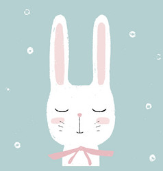 cute little white rabbit bunny hand drawn vector image vector image