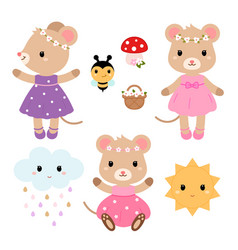 cute mouses and design elements flat vector image vector image