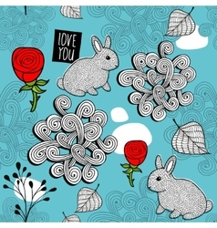 Romantic seamless pattern with cute rabbits and vector image