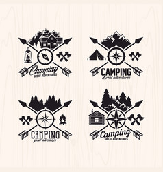 Set of summer camp logo vector