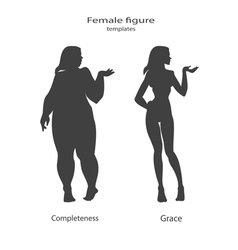 silhouette figure of a woman thick and thin vector image