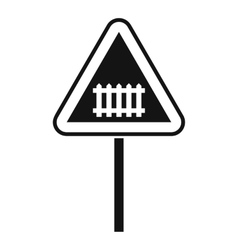 Warning road sign icon simple style vector image vector image