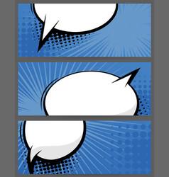comic book balloon horizontal blue blank banner vector image