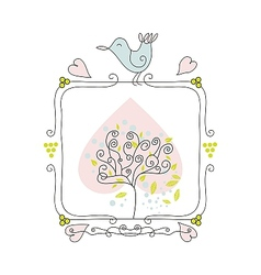 Cute fame with bird and tree vector image vector image