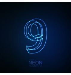 Neon 3D number 9 vector image vector image