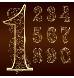 Set of vintage floral numbers vector