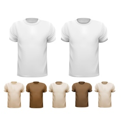Set of white and colorful male shirts vector image vector image