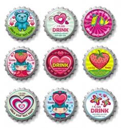 valentines bottle tops vector image vector image