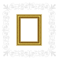 Golden frame with gray ornament vector image