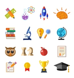 Online Education Flat Icon Set vector image vector image