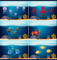 six underwater scenes with different sea animals vector image