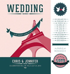 Wedding invitation Paris vector image vector image