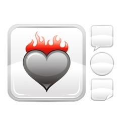 Happy valentines day romance love burning heart vector