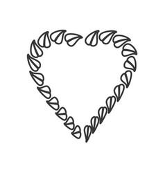 heart leave organic emblem line vector image