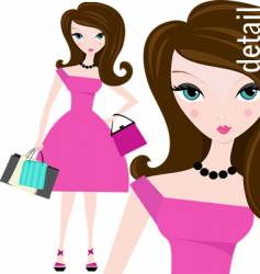 shopping in pink vector image