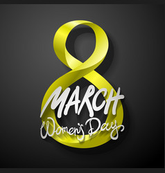 yellow march 8 greeting card international womans vector image