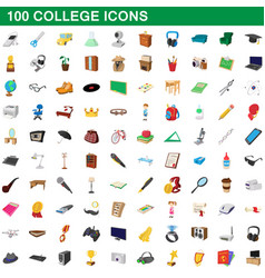 100 college icons set cartoon style vector