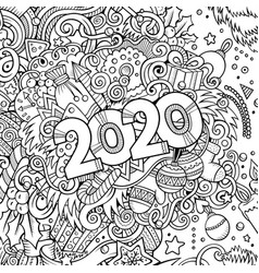 2020 hand drawn doodles contour line vector