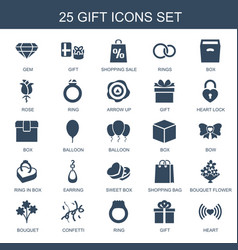 25 gift icons vector