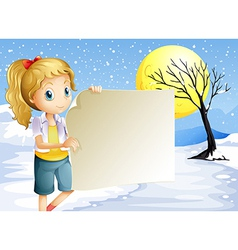 A girl holding an empty signage vector