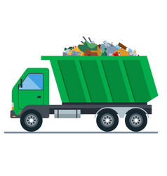 A truck loaded with garbage goes to a landfill vector