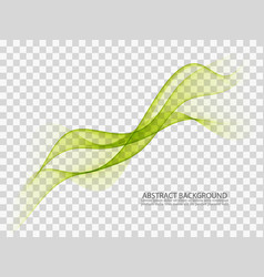 Abstract green wavy lines smoke wave transparent vector