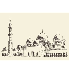 Abu Dhabi main mosque Sheikh Zayed Mosque drawn vector