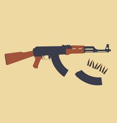 Ak47 assault rifle magazine bullets vector