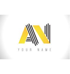 an black lines letter logo creative line letters vector image