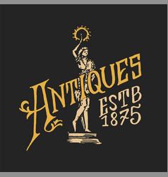 antique frame label vintage golden card shop vector image