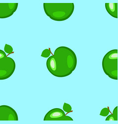 apples fruits seamless pattern green elements vector image