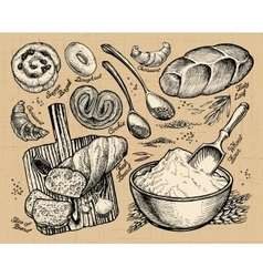 Bakery bread hand drawn sketches of food vector