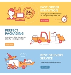 Banners set with linear Icons of logistics vector