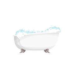 Bathtub with foam bathroom equipment isolated vector