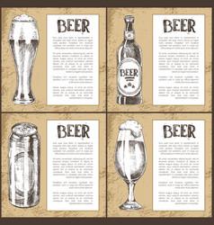 beer glass bottle can and mug vintage poster vector image