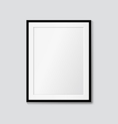 black frame with passepartout on wall mock up vector image
